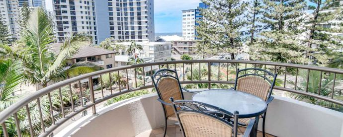one-bedroom-balcony | The Regent Apartments - Gold Coast Holiday Accommodation Resort